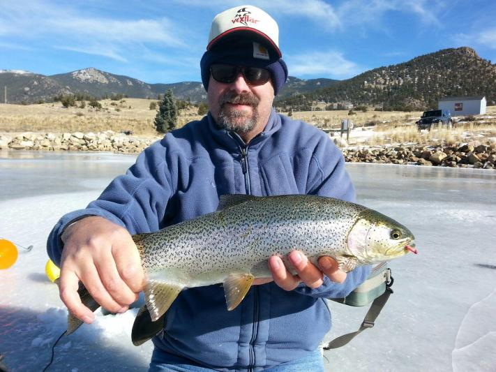 Ice fishing for trout on Tarryall reservoir