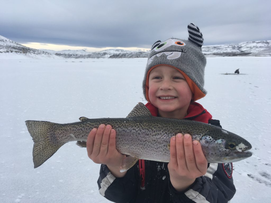 ice fishing for blue mesa rainbow trout
