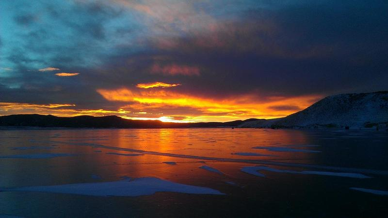 Unbelievable sunrise on Colorado ice!!