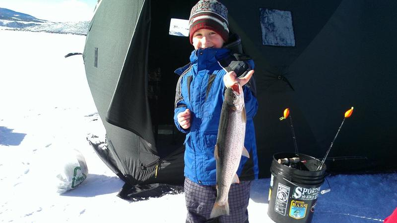 Fisher's first ice fishing experience proved to be exciting on 11 Mile reservoir!