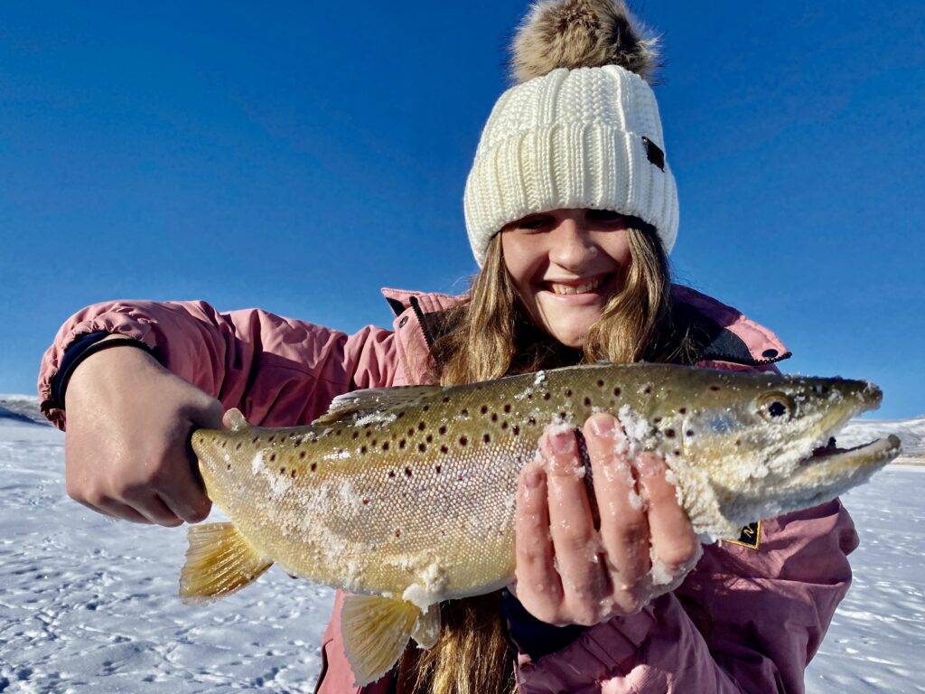 Blue Mesa trophy brown trout ice fishing 2020